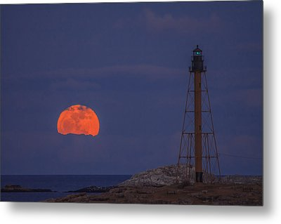 Winter Moon Rising Over Marblehead Light Metal Print by Jeff Folger