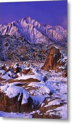 Winter Morning Alabama Hills And Eastern Sierras Metal Print by Dave Welling