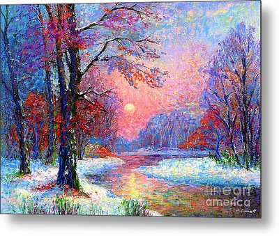 Winter Nightfall, Snow Scene  Metal Print by Jane Small