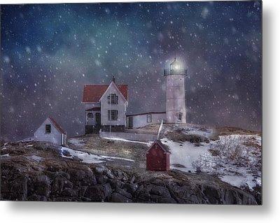 Winter Nights At Nubble Light Metal Print by Joann Vitali