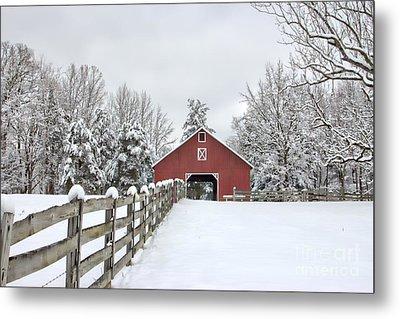 Winter On The Farm Metal Print by Benanne Stiens