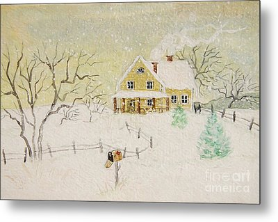 Winter Painting Of House With Mailbox/ Digitally Altered Metal Print by Sandra Cunningham
