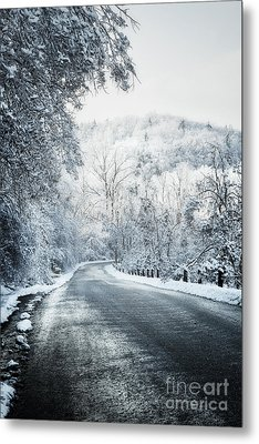 Winter Road In Forest Metal Print by Elena Elisseeva