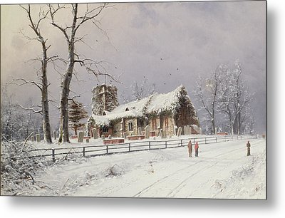 Winter Scene With Figures On A Path Near A Church Metal Print by Nils Hans Christiansen