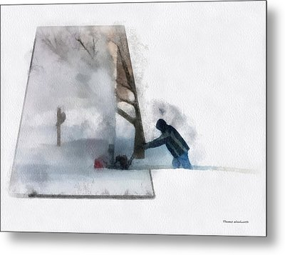 Winter Snow Blower Photo Art Metal Print by Thomas Woolworth