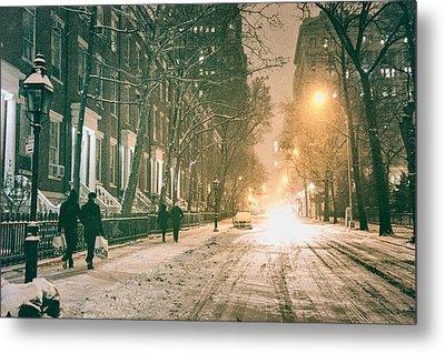 Winter - Snow - Washington Square - New York City Metal Print by Vivienne Gucwa