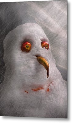 Winter - Snowman - What Are You Looking At Metal Print by Mike Savad