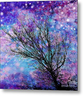 Winter Starry Night Square Metal Print by Ann Powell