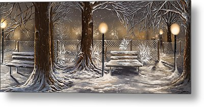 Winter Trilogy Collage Metal Print by Veronica Minozzi