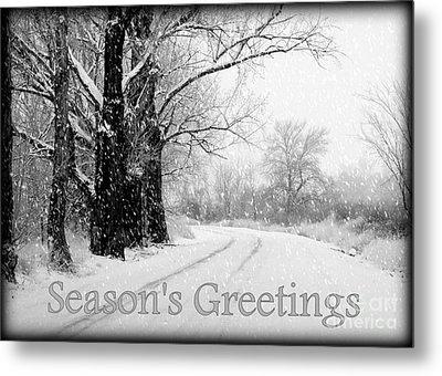 Winter White Season's Greeting Card Metal Print by Carol Groenen
