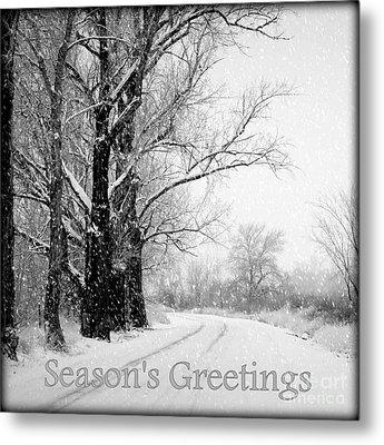 Winter White Season's Greetings Metal Print by Carol Groenen