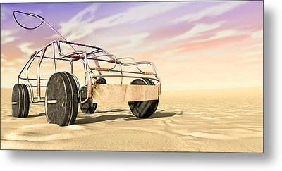 Wire Toy Car In The Desert Perspective Metal Print by Allan Swart