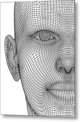 Wireframe Head Metal Print by Alfred Pasieka