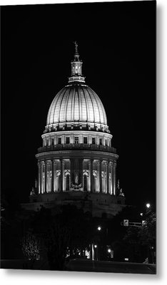 Wisconsin State Capitol Building At Night Black And White Metal Print by Sebastian Musial
