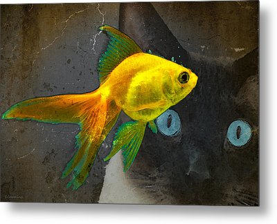 Wishful Thinking - Cat And Fish Art By Sharon Cummings Metal Print by Sharon Cummings
