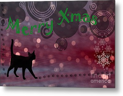 Wishing You All A Purrfect Xmas... Metal Print by Nina Stavlund