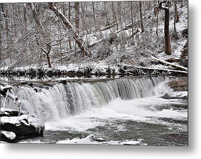 Wissahickon Waterfall In Winter Metal Print by Bill Cannon