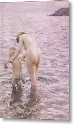 With Mother Metal Print by Anders Leonard Zorn