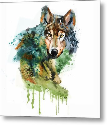 Wolf Face Watercolor Metal Print by Marian Voicu