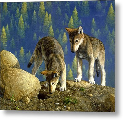 Wolf Pups - Anybody Home Metal Print by Crista Forest