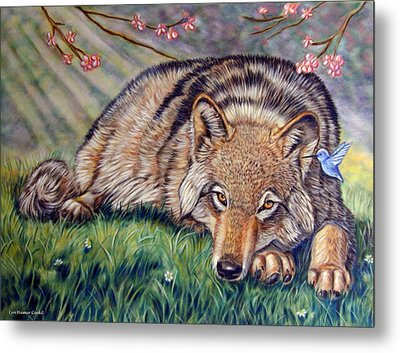 Wolf Whisperer Metal Print by Lyn Cook