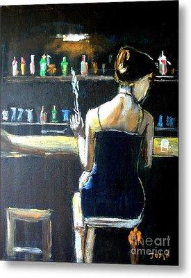 Woman At The Bar Metal Print by Judy Kay