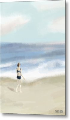 Woman By The Sea Metal Print by Beverly Brown Prints