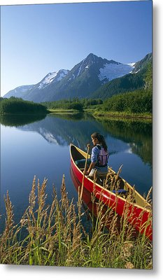 Woman Canoeing In Moose Ponds Near Metal Print by Michael DeYoung
