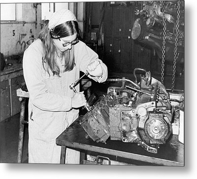 Woman Car Mechanic Metal Print by Underwood Archives