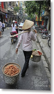 Woman Carrying Baskets Of Fruits Metal Print by Sami Sarkis
