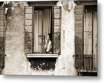 Woman Gazing Out Of A Window Contemplating Metal Print by Stephen Spiller
