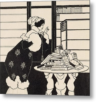 Woman In A Bookshop Metal Print by Aubrey Beardsley