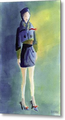Woman In A Pillbox Hat Fashion Illustration Art Print Metal Print by Beverly Brown