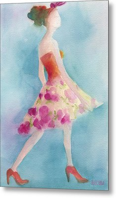 Woman In A Pink Flowered Skirt Fashion Illustration Art Print Metal Print by Beverly Brown
