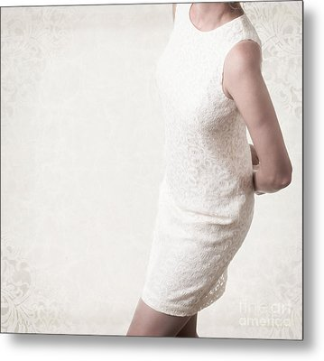 Woman In Lace Dress Metal Print by Edward Fielding