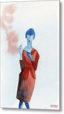 Woman In Red Dress With Cigarette And Mobile Device Metal Print by Beverly Brown Prints