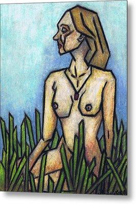Woman In The Meadow Metal Print by Kamil Swiatek