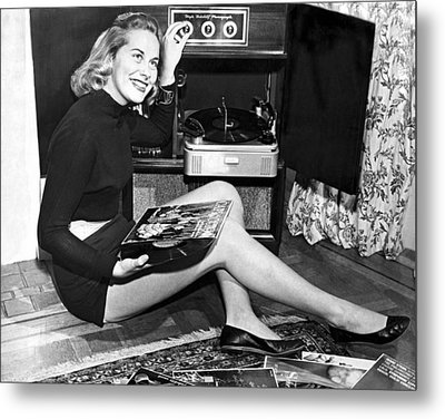 Woman Listening To Records Metal Print by Underwood Archives