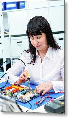 Woman Making A Micro Processor Metal Print by Wladimir Bulgar