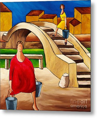 Woman On Bridge Metal Print by William Cain