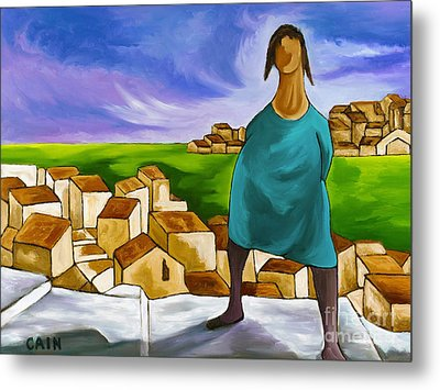 Woman On Village Steps Metal Print by William Cain
