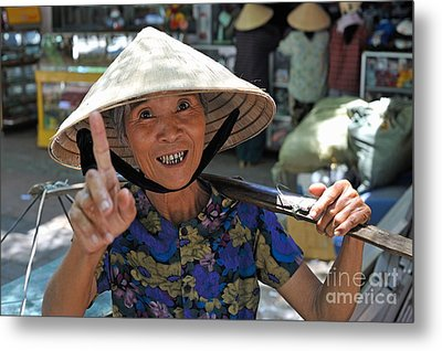Woman Portrait At Market In Hue Metal Print by Sami Sarkis