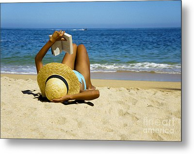 Woman Reading A Book  Metal Print by Aged Pixel