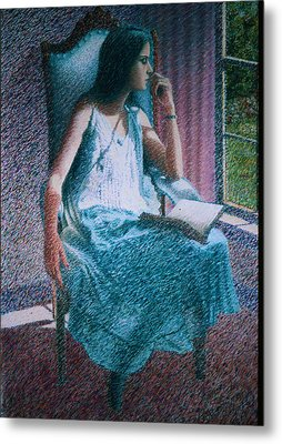 Woman Reading Metal Print by Herschel Pollard
