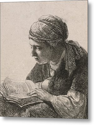 Woman Reading Metal Print by Rembrandt