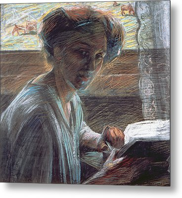 Woman Reading Metal Print by Umberto Boccioni