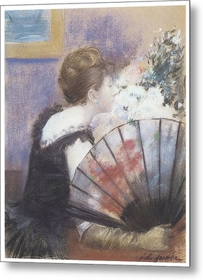 Woman Smelling Flowers Metal Print by Jean-Louis Forain