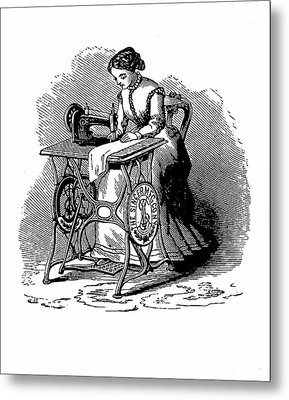 Woman Using Sewing Machine Metal Print by Universal History Archive/uig