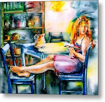 Woman Waiting No 2 Metal Print by Trudi Doyle