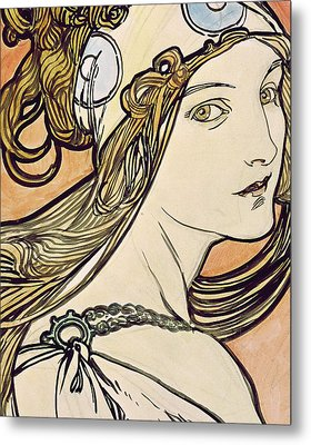 Woman With A Headscarf Metal Print by Alphonse Marie Mucha